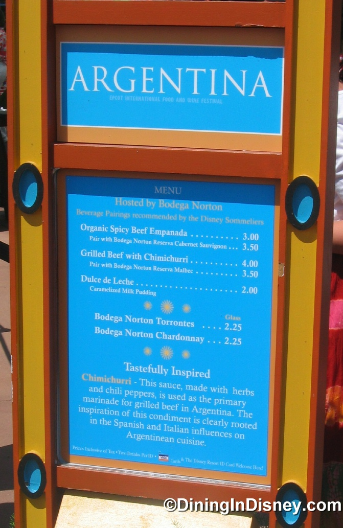 EPCOT Food and Wine Festival - Argentina Menu
