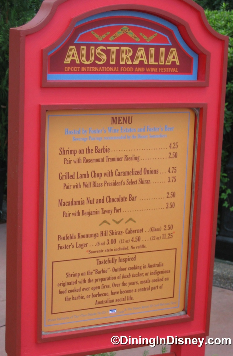 EPCOT Food and Wine Festival - Australia Menu