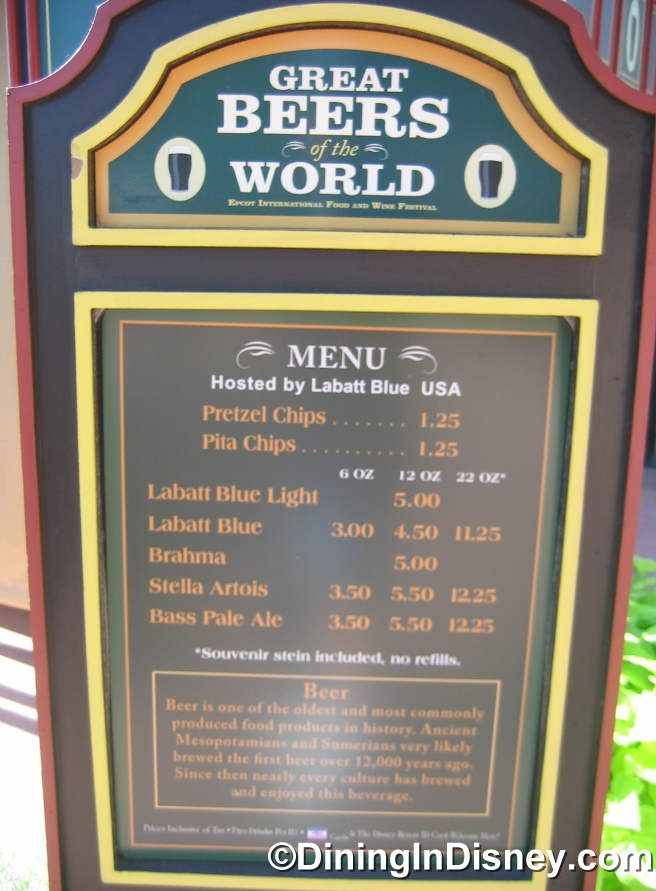 EPCOT Food and Wine Festival - Great Beers Menu