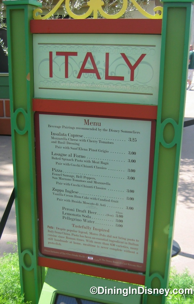 EPCOT Food and Wine Festival - Italy Menu