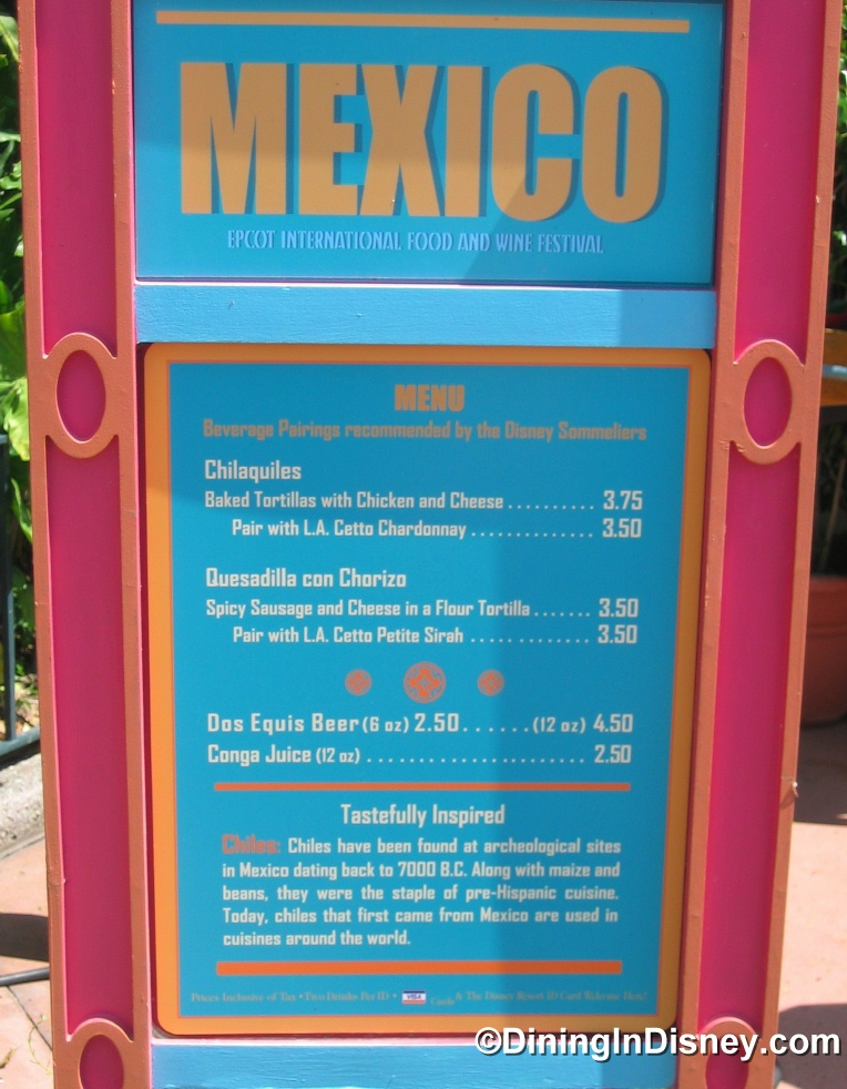 EPCOT Food and Wine Festival - Mexico Menu