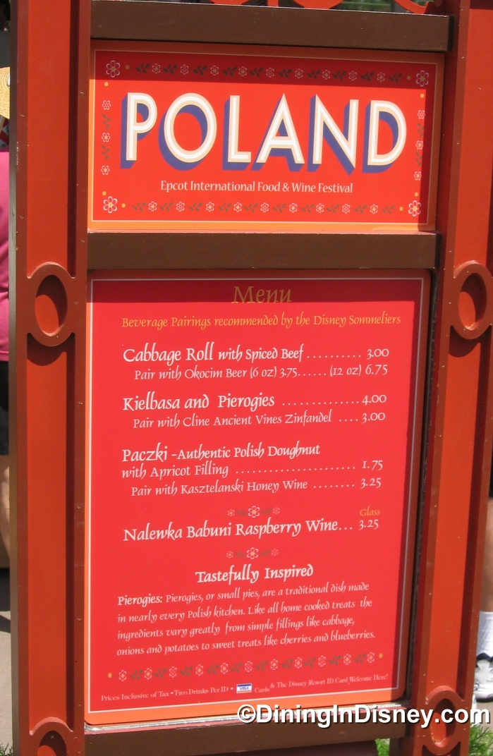 EPCOT Food and Wine Festival - Poland Menu