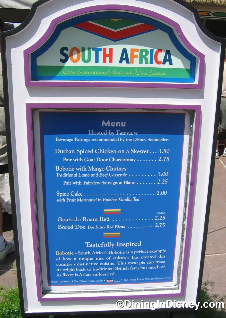 EPCOT Food and Wine Festival - South Africa Menu