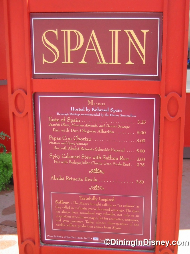 EPCOT Food and Wine Festival - Spain Menu